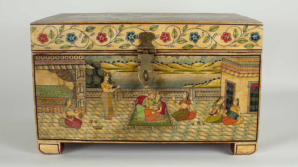 Indian painted bone box