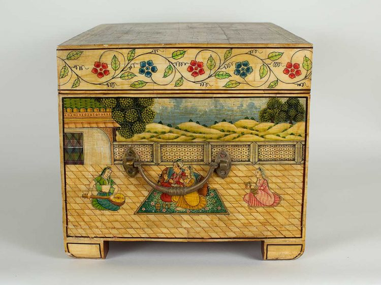 Indian painted bone box