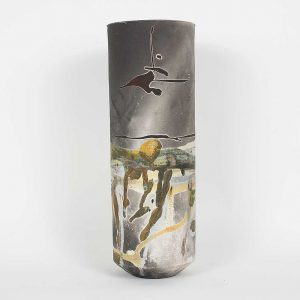 Japanese raku vase
